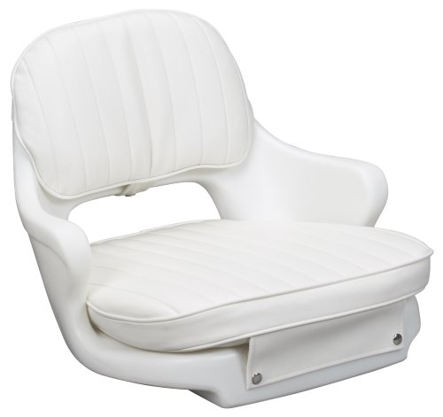 Moeller Marine Moeller ST2000-HD, Boat Helm Seat and Cushion, Includes Mounting Plate , White , 24.5