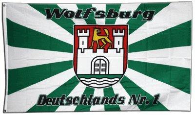 Fahne / Flagge Wolfsburg 2 + gratis Sticker, Flaggenfritze®