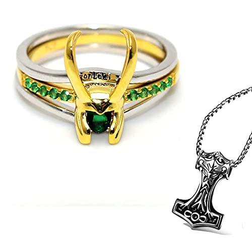 Loki Ring, Thor's Hammer Thor necklace, Three-in-one Silver Thor Ring, Silver Ring Jewelry Women's Jewelry (silver/gold) (Silver)