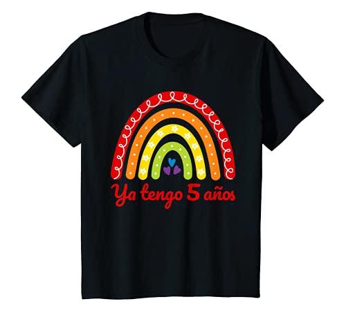 Niños 5º cumpleaños niña chica 5 años arcoíris ya tengo 5 años Camiseta