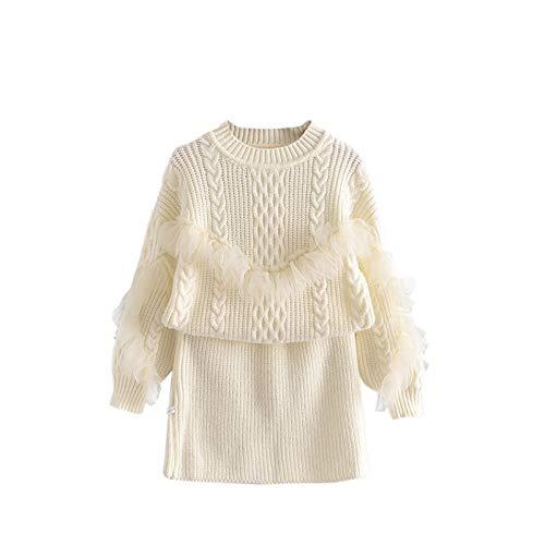 Cárdigan de punto con volantes de encaje para bebés, niñas y niños pequeños, suéter acanalado + falda de línea A, juegos de 2 piezas de 1 a 6 años