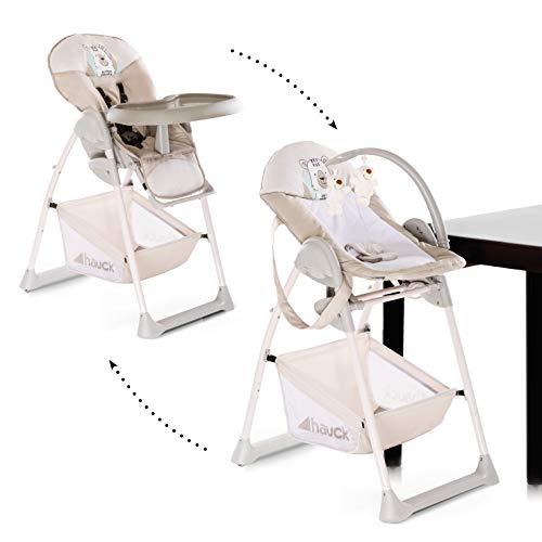 Hauck Sit'n Relax Newborn Set – Neugeborenen Aufsatz und Kinderhochstuhl ab Geburt, mit Liegefunktion / inkl. Spielbogen, Tisch, Rollen / höhenverstellbar, mitwachsend, klappbar - Friend (Beige)