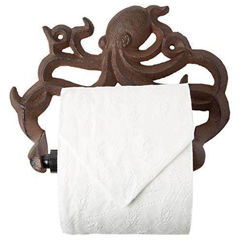 Portabobinas Decorativo de Hierro Fundido Octopus para Papel Higiénico - Decoración de Pared para Baño - Kraken, Accesorios Náuticos para Baño - los Tornillos y Anclas incluidos - Marrón Óxido