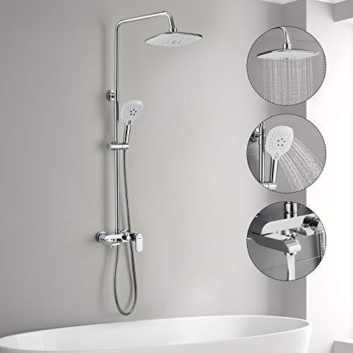 3-Funktion Duschsystem mit Armatur, WOOHSE Duschset Duschsäule mit Duschregal Regendusche 3 Strahlarten Handbrause Duscharmatur Brauseset Badewanne Verstellbarer Duschstange Edelstahl für Bad