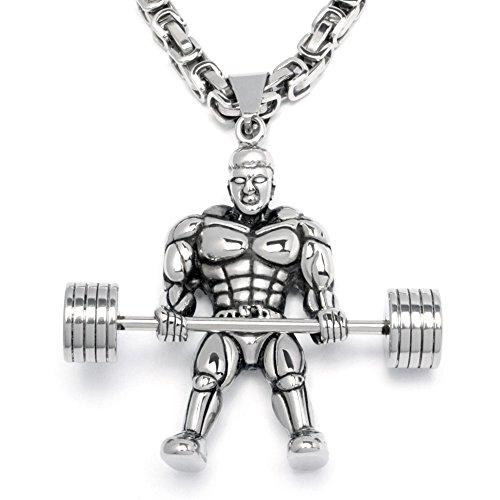 Schmuck-Checker Edelstahl Herren Anhänger Hantel Gewicht Kraftsport Bodybuilder Gewichtheber Fitnessstudio + Königskette Geschenk