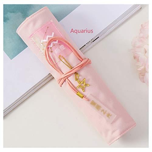 jiji Estuche de lápices lindo bolso de doce constelaciones estuche de gran capacidad para bolígrafos para niña, suministros escolares, papelería, regalos, bolsa de lápices (color C-rosa claro)