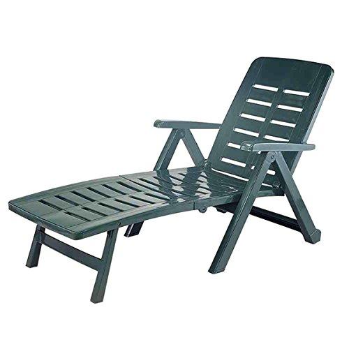 Mojawo Liege mit hohem Liege- + Sitzkomfort Sonnenliege Gartenliege Relaxliege Saunaliege Kunststoff Grün 96x72x189cm