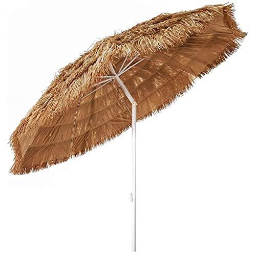 Hawaii Parasol Sombrilla Redonda Paraguas de Jardín,Sombrilla de Playa Portátil Al Aire Libre Hula Paja Tiki con Botón de Presión de Inclinación para Piscina Patio Jardín