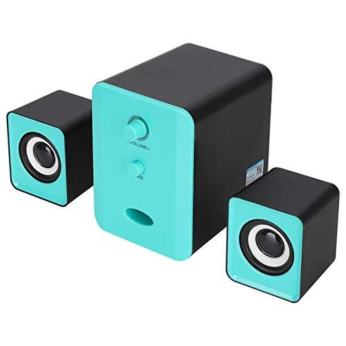 Goshyda Altavoz Bluetooth, Mini Interfaz USB Heavy Bass 2.1 Sonido Envolvente Computadora PC Altavoz Multimedia Bluetooth con Material ABS para computadora portátil(Azul)