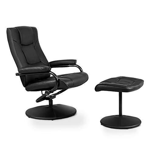 GOPLUS Relaxsessel, Wohnzimmersessel, Fernsehsessel Leder, Relaxstuhl drehbar, TV Sessel Set, schwarz, mit Hocker (Schwarz)