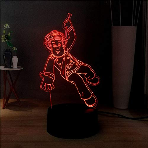 3D-Illusionslampe Led Nachtlicht Cartoon Feuerwehrmann Sam Usb 7 Farbwechsel Nacht Stimmung Kinder Spielzeug Weihnachtsgeschenk Kindergeburtstag Weihnachtsgeschenke