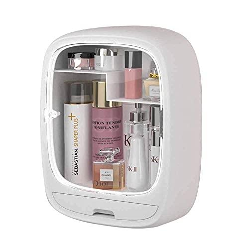 LXM Organizadores de maquillaje y cuidado de la piel montados en la pared con cajón, caja de almacenamiento de cosméticos a prueba de polvo e impermeable para baño y dormitorio (color: blanco)