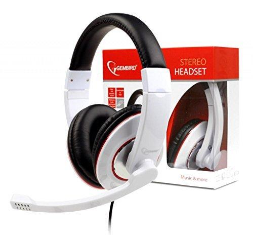 Headset über Ohr-Stereo-Kopfhörer mit Mikrofon für PC, Laptop, Spiele, Musik, Skype, Video Chat / 2 x 3,5 mm Klinke/Weiß/iCHOOSE