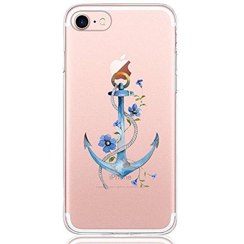 Oveo kompatibel mit iPhone 7/8 Hülle, Dolce Vita Serie Transparente Silikon Handyhülle Accessoires für Damen/Mädchen, Durchsichtig mit Blau Anker Blumen Motiv
