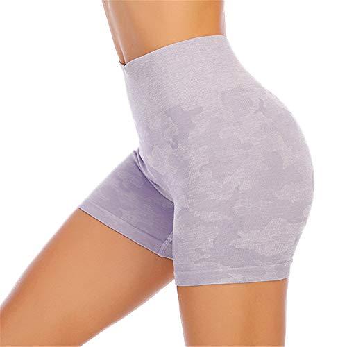 SotRong pantalones cortos de entrenamiento de camuflaje para mujer, sin costuras, pantalones cortos de yoga de cintura alta, pantalones cortos de verano Morado Morado ( S