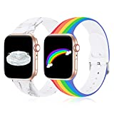 Sport Bands Compatible with Apple Watch Bands 42mm 44mm, iWatch Bands 42mm 44mm Women Men, Fadeless Soft Silicone Floral Band Replacement Straps for iWatch Series 6 SE 5 4 3 2 1, 2 Pack