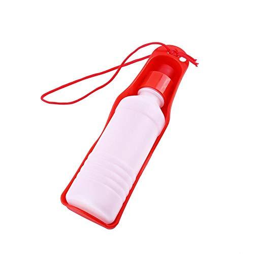 YOUTHINK Botella de Agua para Perros, Dispensador Portátil de Taza de Bebida de Agua para Mascotas Tazón de Botella de Agua de Viaje(Rojo-250Ml)