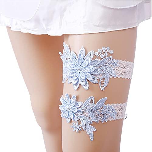 Juego de liguero de boda de 2 piezas, liguero y tirantes de encaje de novia accesorios de ropa interior de boda (azul)
