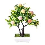 GYNFJK Künstliche Pflanzen für Wohnkultur Realistische Pfirsich Obstbaum Künstliche Topfpflanzen Bonsai Desktop Ornamente Tischdekoration
