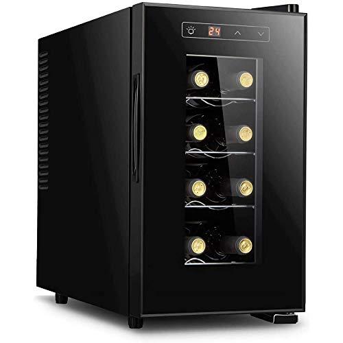 Enfriador de vino electrónico Refrigerador para vino tinto y blanco independiente 8 botellas Bar pequeño para el hogar Bodega Control digital Puerta de vidrio Refrigerador vertical-Vertical
