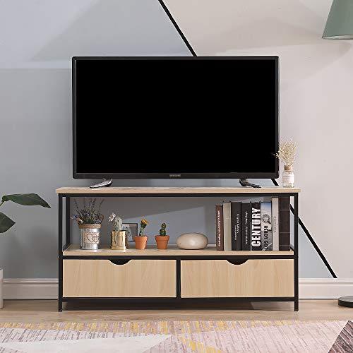 TV-Meubel Industrieel Design met 2 Lades en 2 Planken, Natuurlijk Eiken, 110x40x55cm