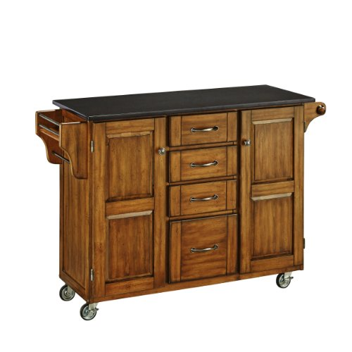 Home Styles Create-a-Cart Cottage Oak Kitchen Cart with Black Granite Top, with Solid Wood Construction, Adjustable Shelves, Towel Bar, Locking Casters, and Spice Rack