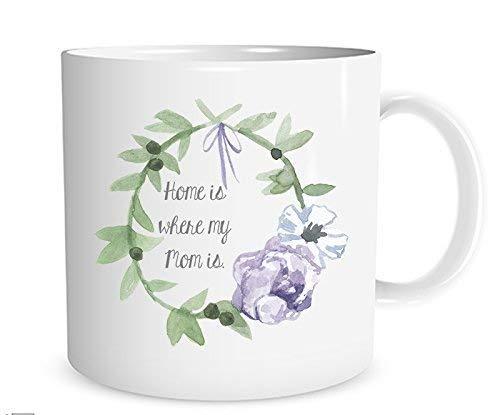 N\A Hogar es Donde está mi mamá Taza de café con Guirnalda de Acuarela Regalo para mamá