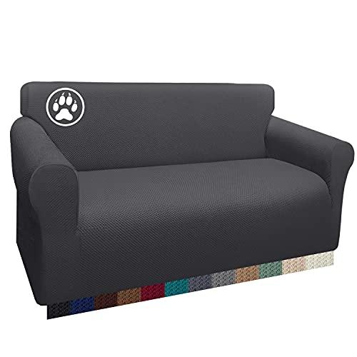 Luxurlife Funda de sofá Impermeable 2 Plazas Funda para Sofá Elástica Antideslizante Protector de Muebles Patrón para Sala de Estar (2 Plazas,Gris)