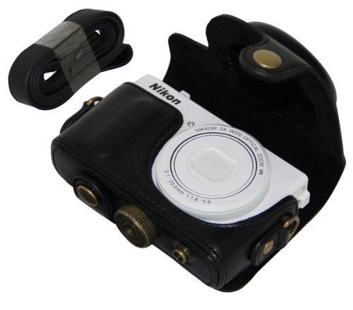 MegaGear Schwarz Leder Kameratasche Set für Nikon COOLPIX P330, Nikon COOLPIX P340 Kamera Tasche Etui