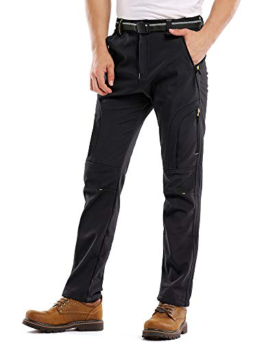 Jessie Kidden Hiking Pants Mens Waterproof Outdoor Fleece Lined Ski Snow Insulated Soft Shell Pants (MH4409 Black, 34)