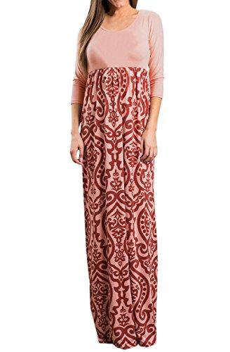 Freestyle Primavera y Otoño Mujeres Casual Impresión Costura Maxi Vestido de Playa Moda Delgado Cuello Redondo Manga 3/4 Vestidos de Partido Fiesta Cóctel Nocturna