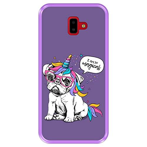 Hapdey Funda Morada para [ Samsung Galaxy J6 Plus 2018 ] diseño [ Cachorro, Unicornio ] Carcasa Silicona Flexible TPU