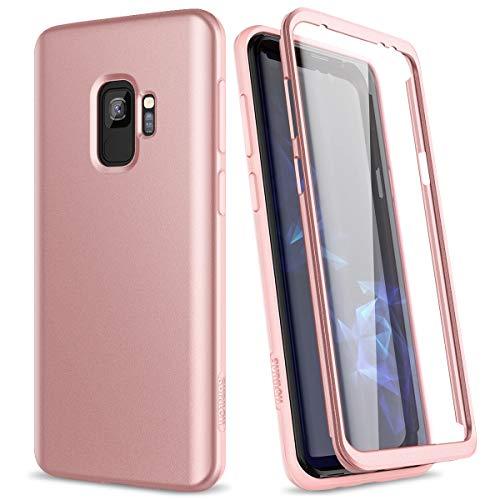 SURITCH Kompatibel mit Samsung Galaxy S9 Hülle 360 Grad Hüllen mit Integriertem Displayschutz Silikon Komplettschutz Handyhülle Schutzhülle für Samsung Galaxy S9 Rosegold