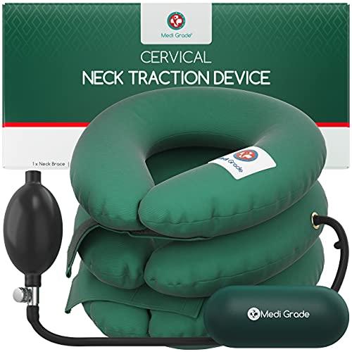 Dispositivo de tracción del cuello cervical, Cojín para aliviar la presión, presión ajustable, Alineación de la columna cervical de Almohada quiropráctica para el cuello y alivio del dolor de espalda
