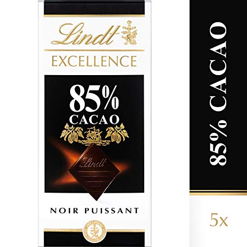 Lindt Excellence Noir 85 % de Cacao - 100 g, Lot de 5
