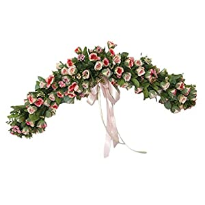DOITOOL Decorative Floral Swag Artificial Rose Wreath Twig Front Door Peony Floral Arch Garland Wedding Birthday Christmas Holiday Party Home Decor