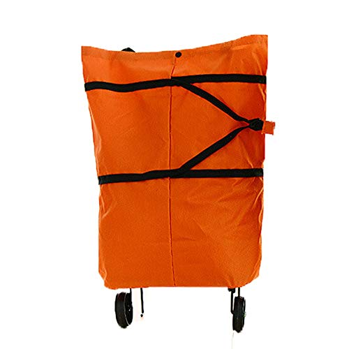 Collapsible Trolley Bag, Portable 2 in 1 Shopping Cart with Wheels, Reusable Multi-Function Grocery Bag, Heavy-Duty Capacity Tote for Home,Orange,L