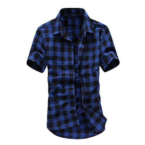 Blusas para Hombre Verano Camisetas Hombre Camisa a Cuadros de celosía de...
