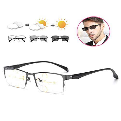 Heren Anti Bluelight Leesbril Mannelijke Progressive Multifocus Glazen Lezers, Smart HD Verkleuring Leesbril, Zwart