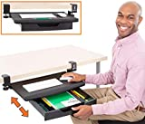 """Stand Steady Clamp On Keyboard Tray with Drawer   Two in One!   Under Desk Storage w/Damage-Free Easy Installation - No Drilling Needed   3 Compartment Organizer w/Removable Dividers (24.5"""" x 11.8"""")"""