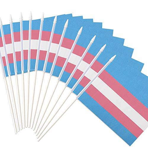 Transgender Stick-vlag, ANLEY Transgender 5x8 inch (12 X 20 cm) Handheld Mini-vlag met 12