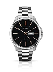 Protective mineral glass window lens Round stainless steel case Stainless Steel Bracelet with Fold Over Clasp Includes Date Water Resistant to 50 Metres