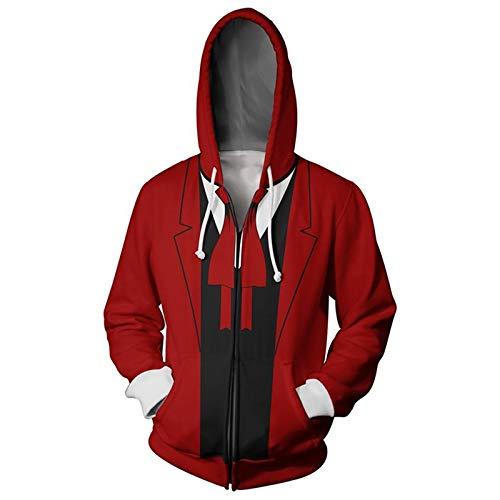 Yousheng Japanischer Anime Hellsing Cosplay Reißverschluss Langarm Hoodie Sport Casual Sweatshirt 2020 Beliebte Unisex Slim-Fit Pullover (Color : Red, Size : M)