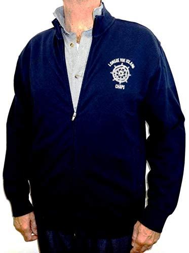 Chaps Full Zip Sweatshirt Yacht Club Jacket XXL 2XL Long Vue Island (XX-Large) Navy