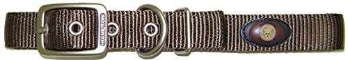 Hamilton Double Thick Nylon Deluxe Dog Collar with Brushed Hardware Finish, 1-Inch by 22-Inch, Brown