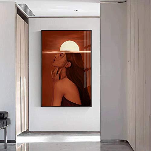Moderne Explosion Sun Canvas Malerei Modern Girl Poster Print für Wohnzimmer Gang Mode Red Brain Girl Wandkunst Nordic Decor 40cm x60cm Kein Rahmen