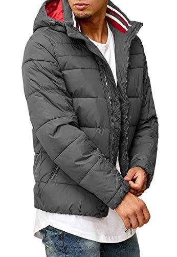 Indicode Herren Philpot Steppjacke in Daunenjacken-Optik mit Abnehmbarer Kapuze und Stehkragen| gefütterte sportliche Winterjacke warme robuste Übergangsjacke Jacke für Männer Dk Grey L