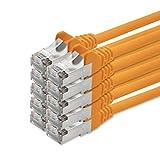 7,5 m - Arancione - 10 pezzi Cavo patch Cat 5e Set di cavi Lan Cavo di rete SFTP Compatibile con Cat5 Cat6 Cat7 Cat8 per router Modem Patchpanel Internet Smart TV