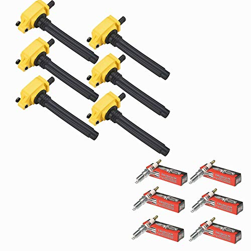 MCK Pack of 6 High Performance Ignition Coils + Iridium Spark Plugs Compatible With Chrysler Dodge Jeep Ram 3.2/3.6L V6 UF648