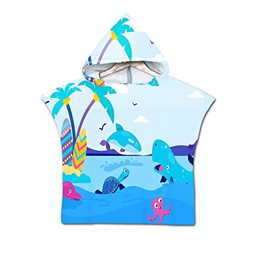 Poncho de algodón Suave Manta Albornoz niños Capa con Capucha Toalla de Playa Toallas de Dibujos Animados de niños Toallas de baño Absortbent Piscina Swim Swim Bathrobbe para niños Niños